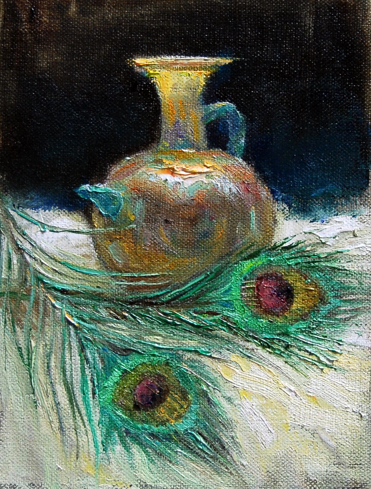 """""""Ancient Glass with Peacock Feathers"""" original fine art by Julie Ford Oliver"""