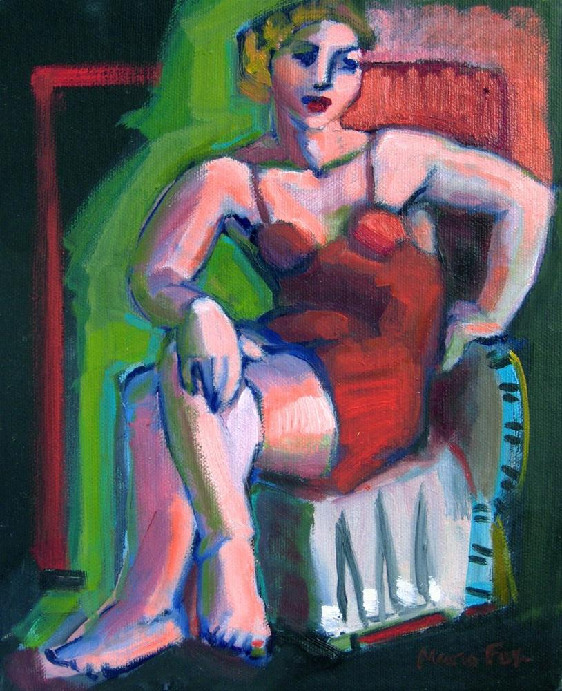 """""""Figurative oil painting woman seated red dress, figure painter"""" original fine art by Marie Fox"""