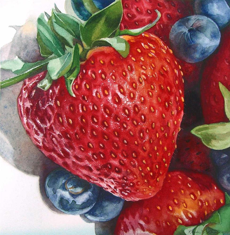 """""""Strawberry Portrait"""" original fine art by Kara K. Bigda"""