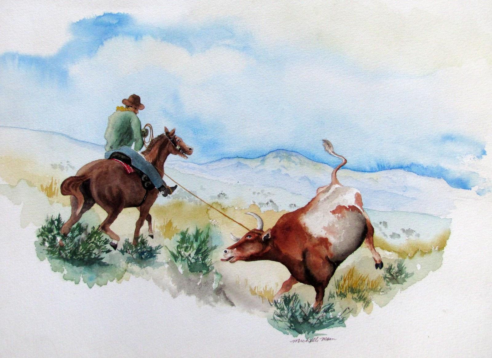 """""""Got'em Good!"""" original fine art by Michelle Wolfe"""