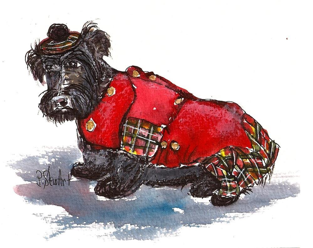 """""""5x6 Scottie Dog Tam Hat Red Coat plaid skirt Watercolor Gouache Pen, by Penny StewArt"""" original fine art by Penny Lee StewArt"""