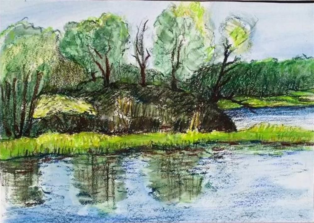 """Sunlit Bank"" original fine art by Selby Minner"