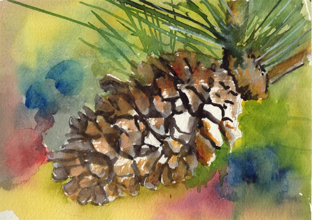 """PINECONE"" original fine art by Bunny Griffeth"