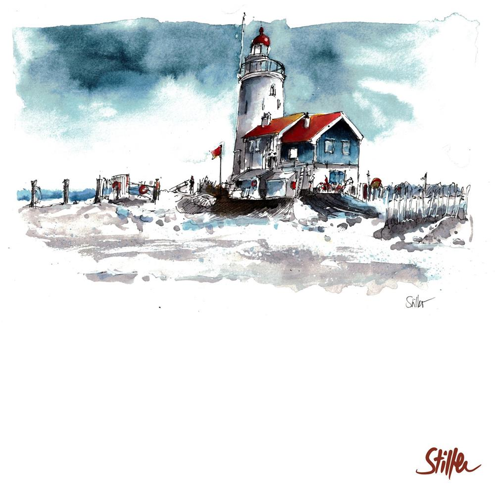 """3426 Lighthouse Van Marken"" original fine art by Dietmar Stiller"
