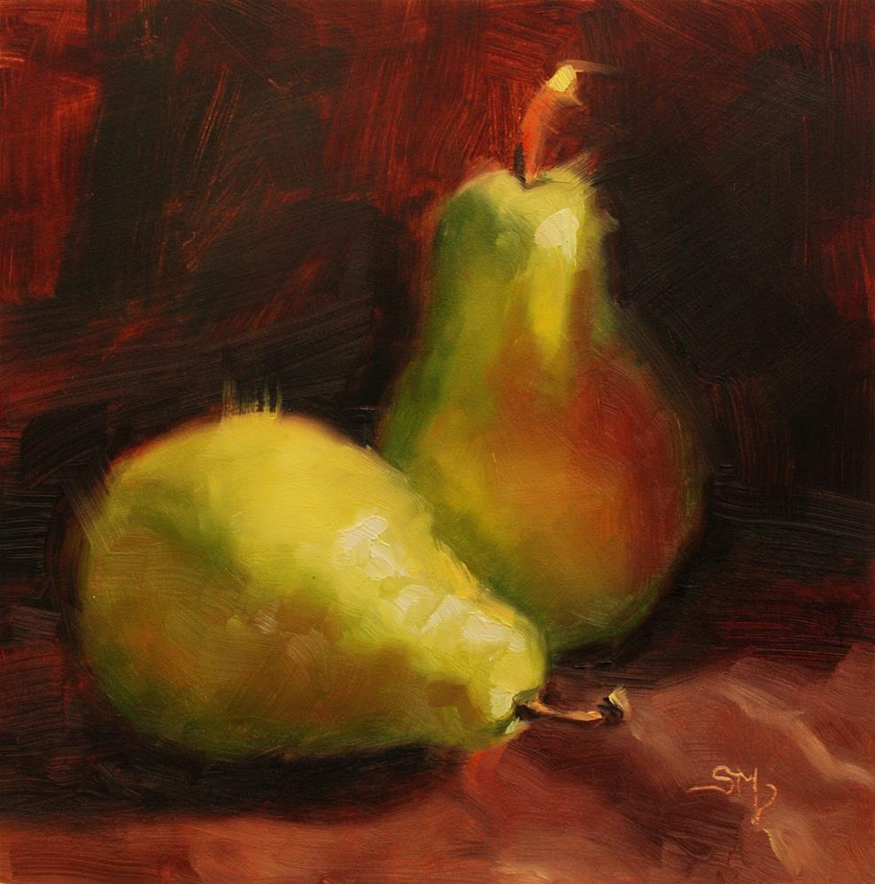 """No. 568 Pears with Chocolate"" original fine art by Susan McManamen"