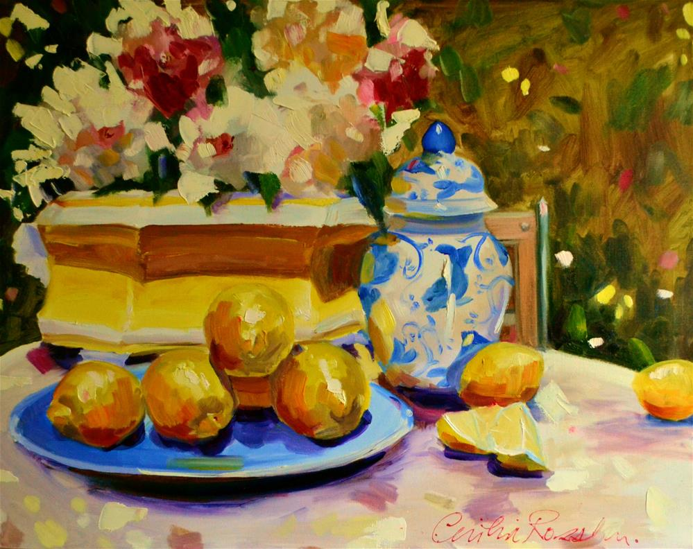 """""""LEMONS IN PROVENCE"""" original fine art by Cecilia Rosslee"""