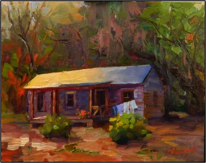 """Humble Abode, 8x10, oil on linen, Florida Cracker Shack, Marjorie Keenen Rawlings, Cross Creek"" original fine art by Maryanne Jacobsen"