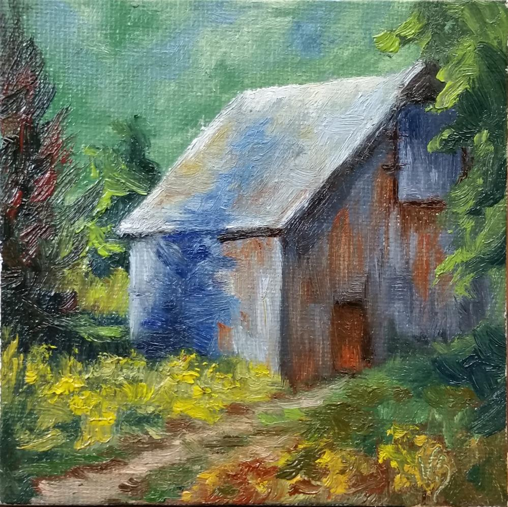 """Barn--mini painting"" original fine art by Veronica Brown"