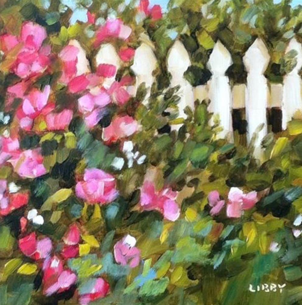 """""""Roses at the Gate"""" original fine art by Libby Anderson"""