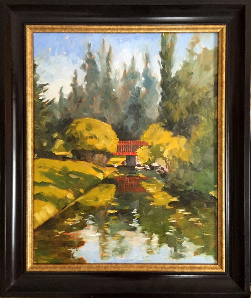 """Red Bridge - Dow Garden"" original fine art by Cornelis vanSpronsen"