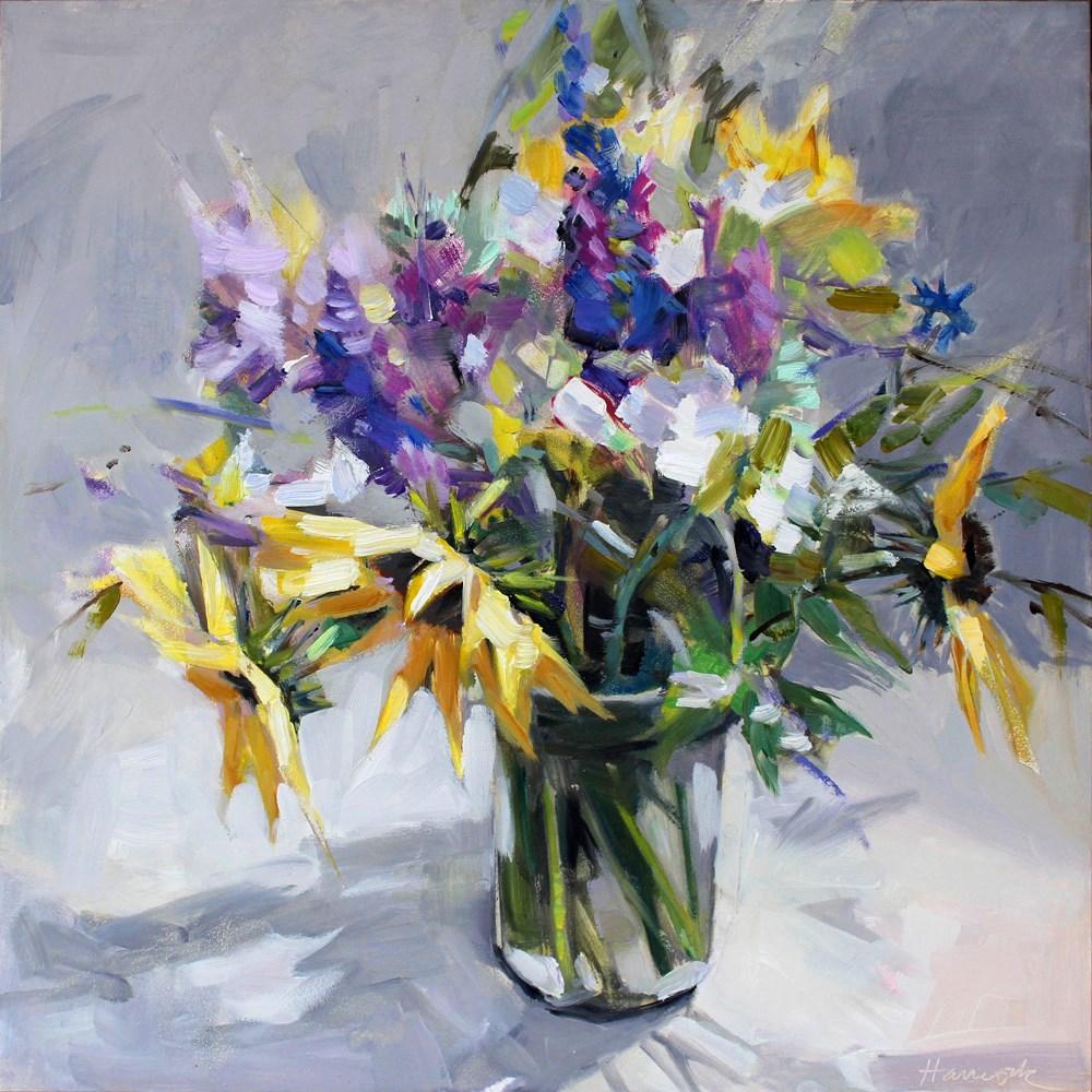 """Sunflower and Salvia"" original fine art by Gretchen Hancock"