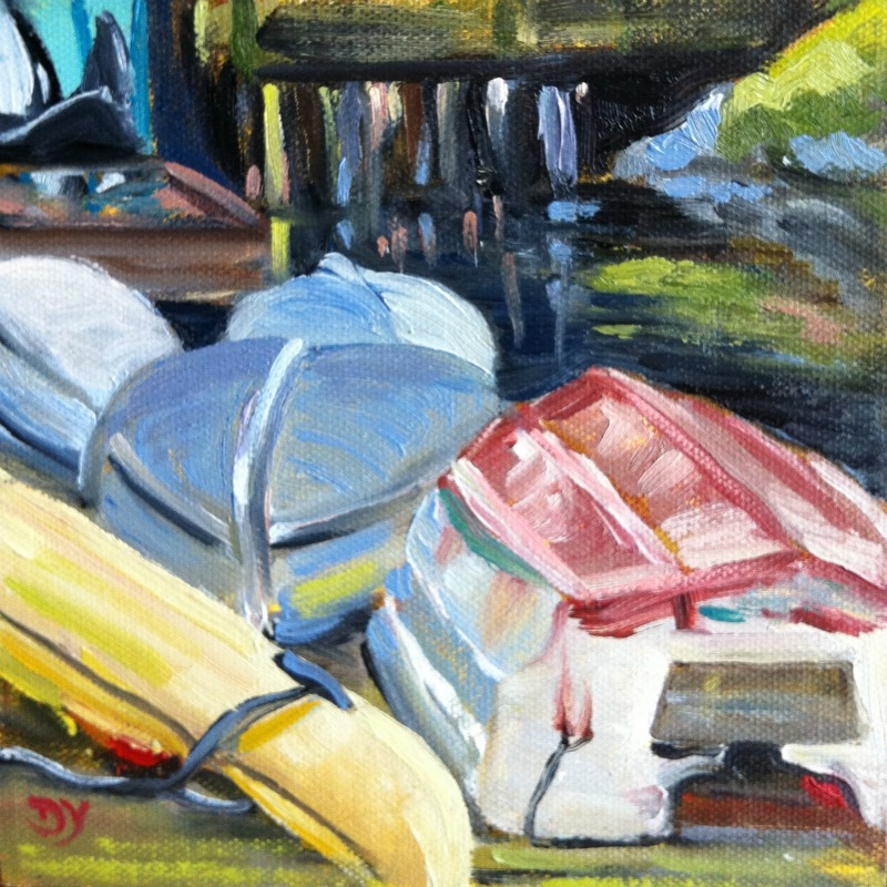 """Fisherman's Warf Boats, oil on board, 6x6"" original fine art by Darlene Young"