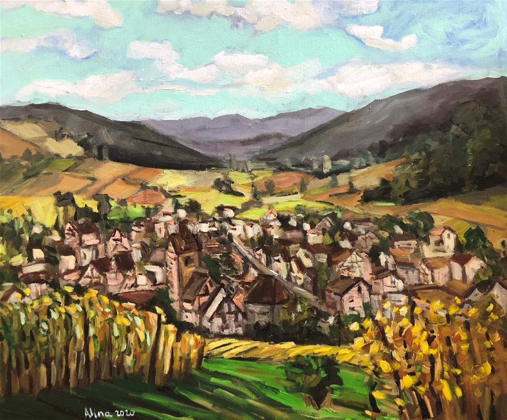 """""""Ville de Riquewihr"""" original fine art by Alina Vidulescu"""