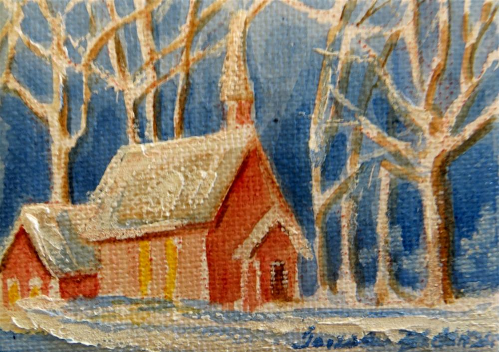 """Winter Schoolhouse - miniature"" original fine art by Tammie Dickerson"
