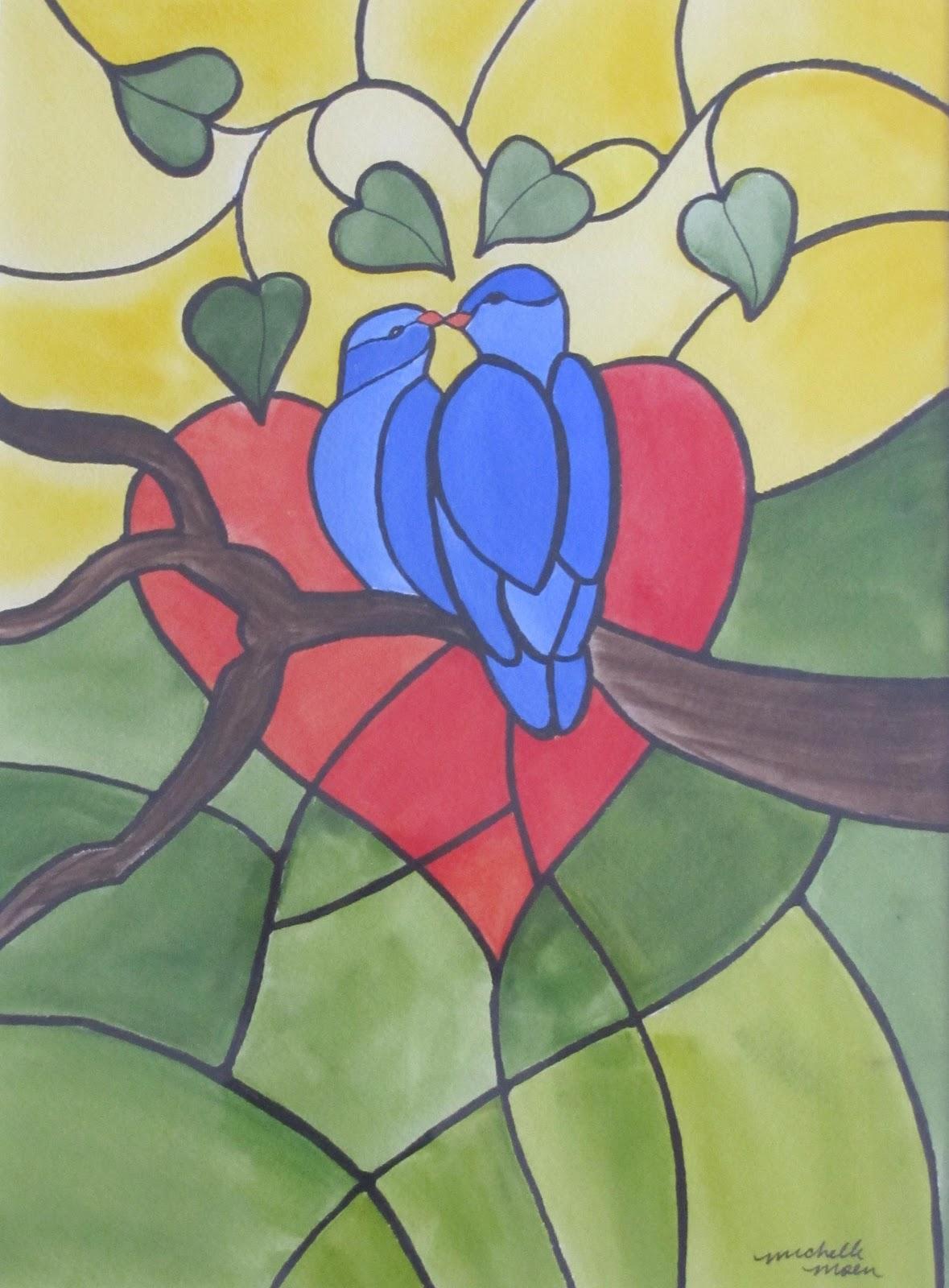 """""""Love Birds"""" original fine art by Michelle Wolfe"""