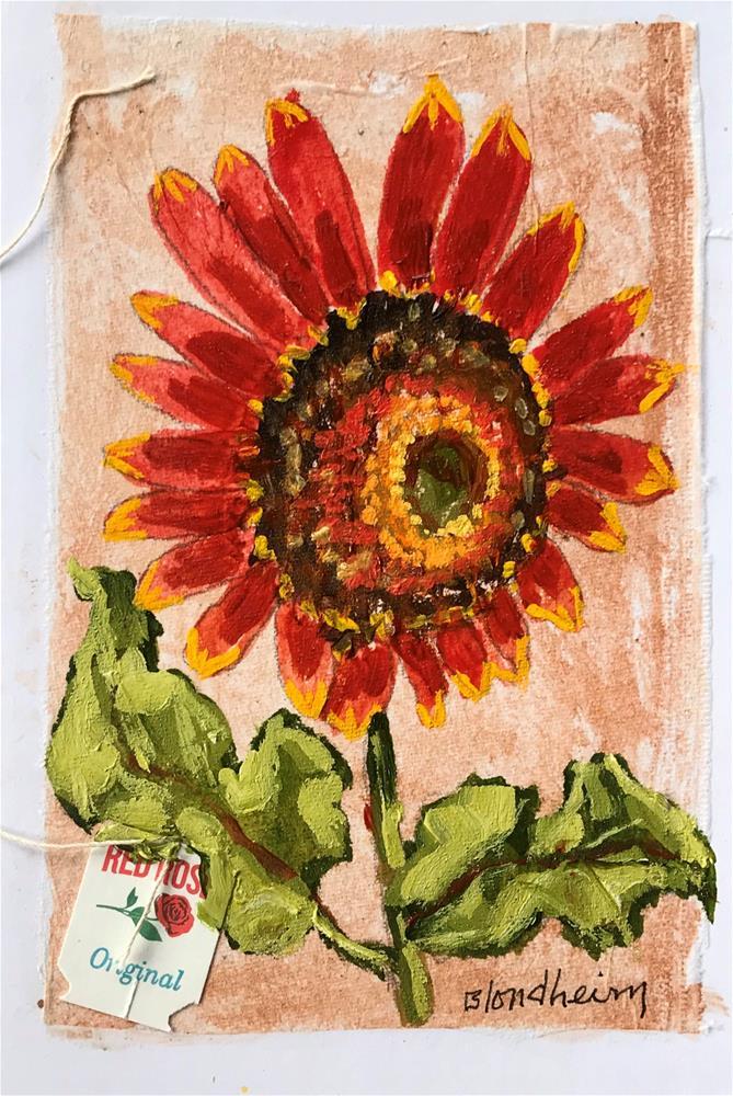 """Tea Bag Painting Sunflower"" original fine art by Linda Blondheim"