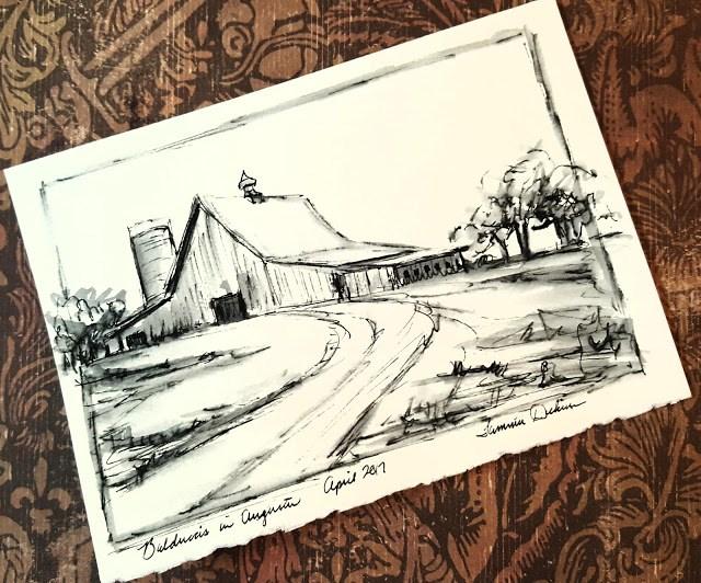 """Road to Balducci's in Ink"" original fine art by Tammie Dickerson"
