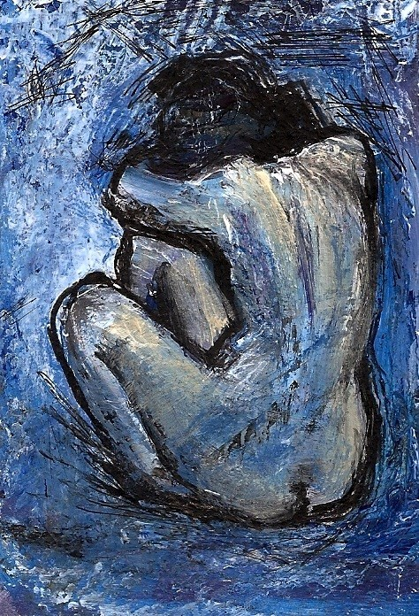 """""""ACEO Blue Nude Painting in the art style of Pablo Picasso by Penny Lee StewArt"""" original fine art by Penny Lee StewArt"""