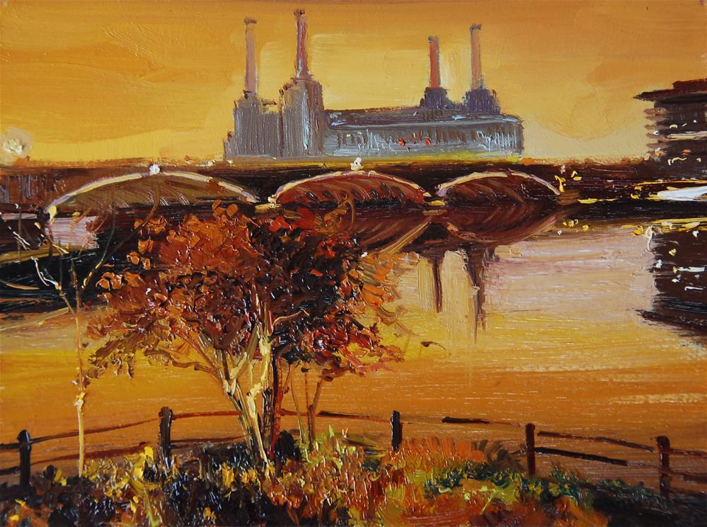 """Golden Nocturne, Battersea Power Station"" original fine art by Adebanji Alade"