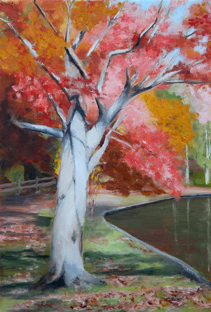"""""""Autumn in the Park"""" original fine art by Maria Reed"""