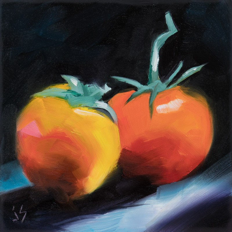 """Persimmon and Tomato"" original fine art by Johnna Schelling"