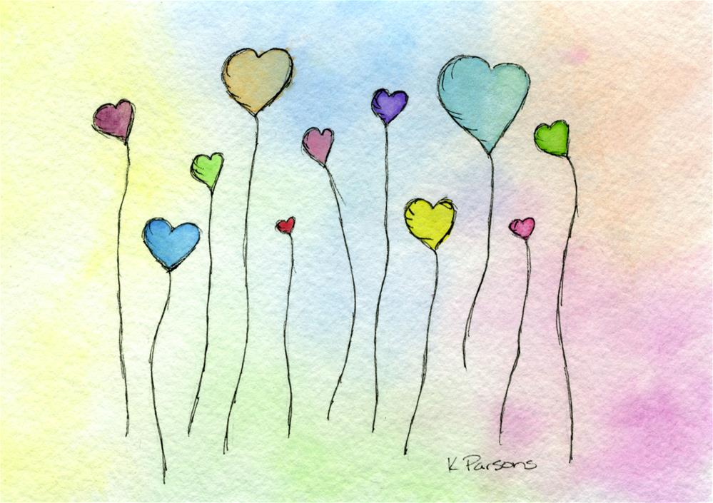"""Hearts with Stems"" original fine art by Kali Parsons"