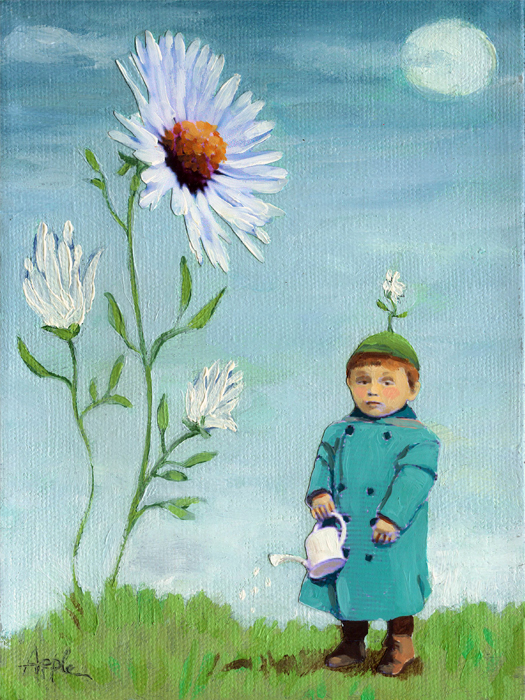 """""""Little Sprout - fantasy figurative oil painting"""" original fine art by Linda Apple"""