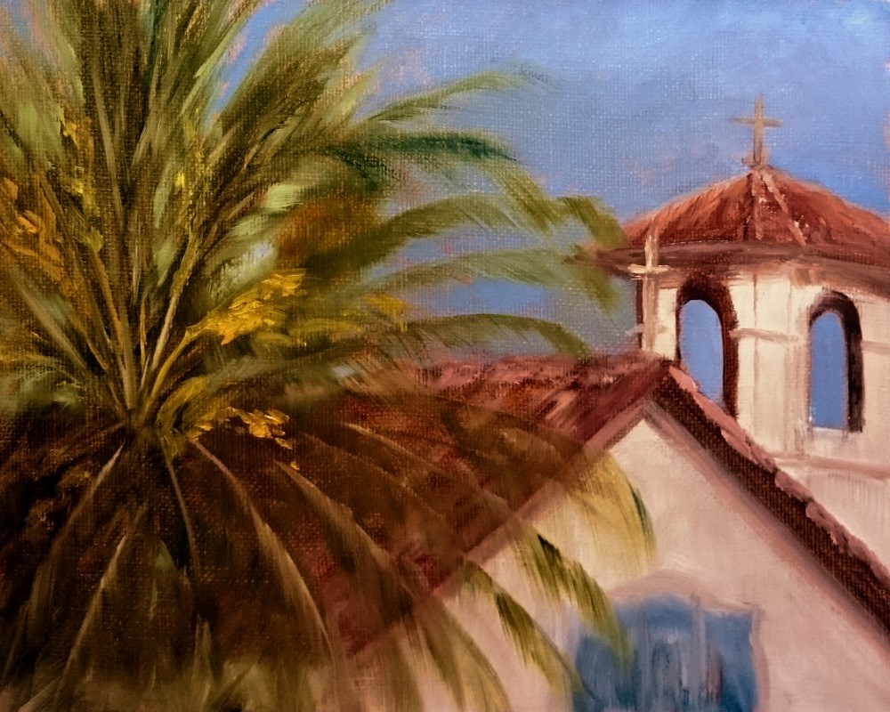 """Sonoma Mission And Palm At Sunset"" original fine art by Dalan Wells"