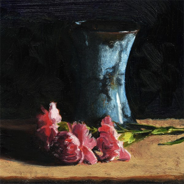 """Handmade vase with carnations"" original fine art by Peter J Sandford"