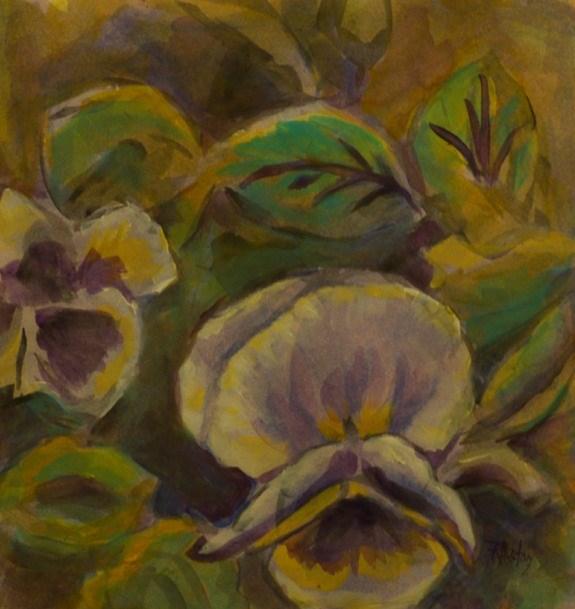 """""""Botanical Garden 34... more pansies"""" original fine art by Richard Huston"""