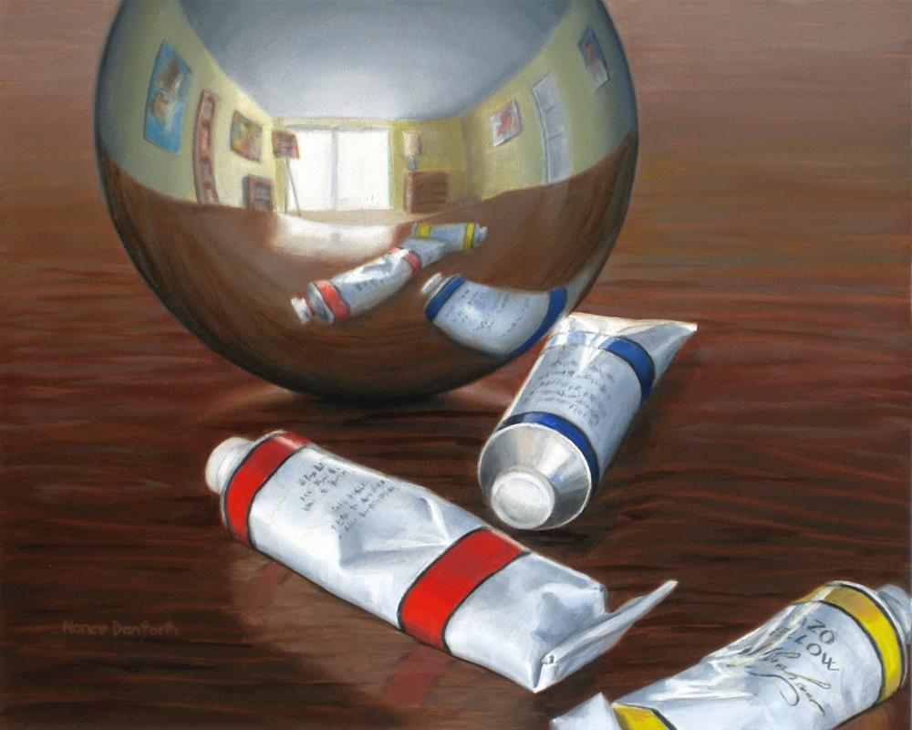 """Gazing Ball in Artist Studio IV"" original fine art by Nance Danforth"