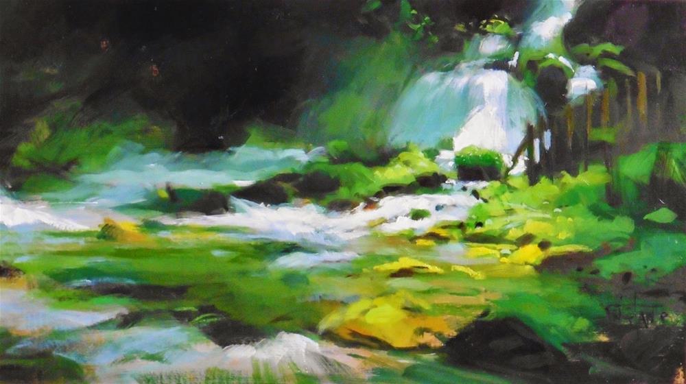 """Foggy river"" original fine art by Víctor Tristante"