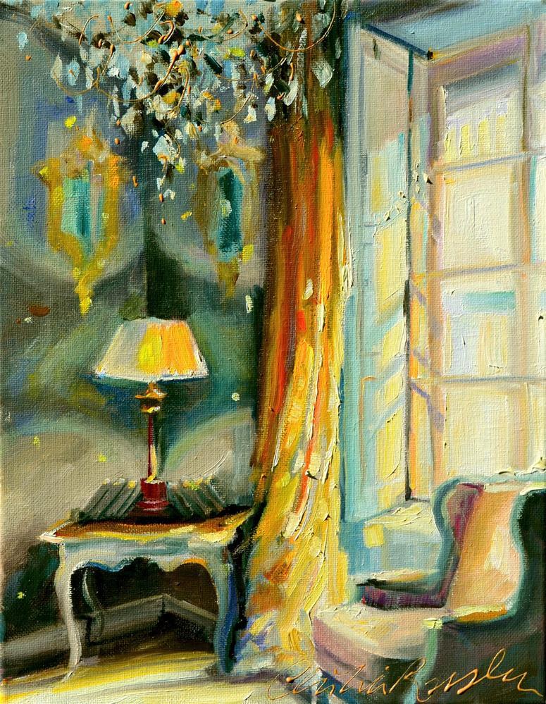"""LE RIDEAU JAUNE"" original fine art by Cecilia Rosslee"