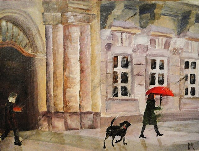 """Red Umbrella"" original fine art by Karen Robinson"