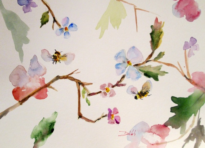 """""""Blossoms and Bees"""" original fine art by Delilah Smith"""