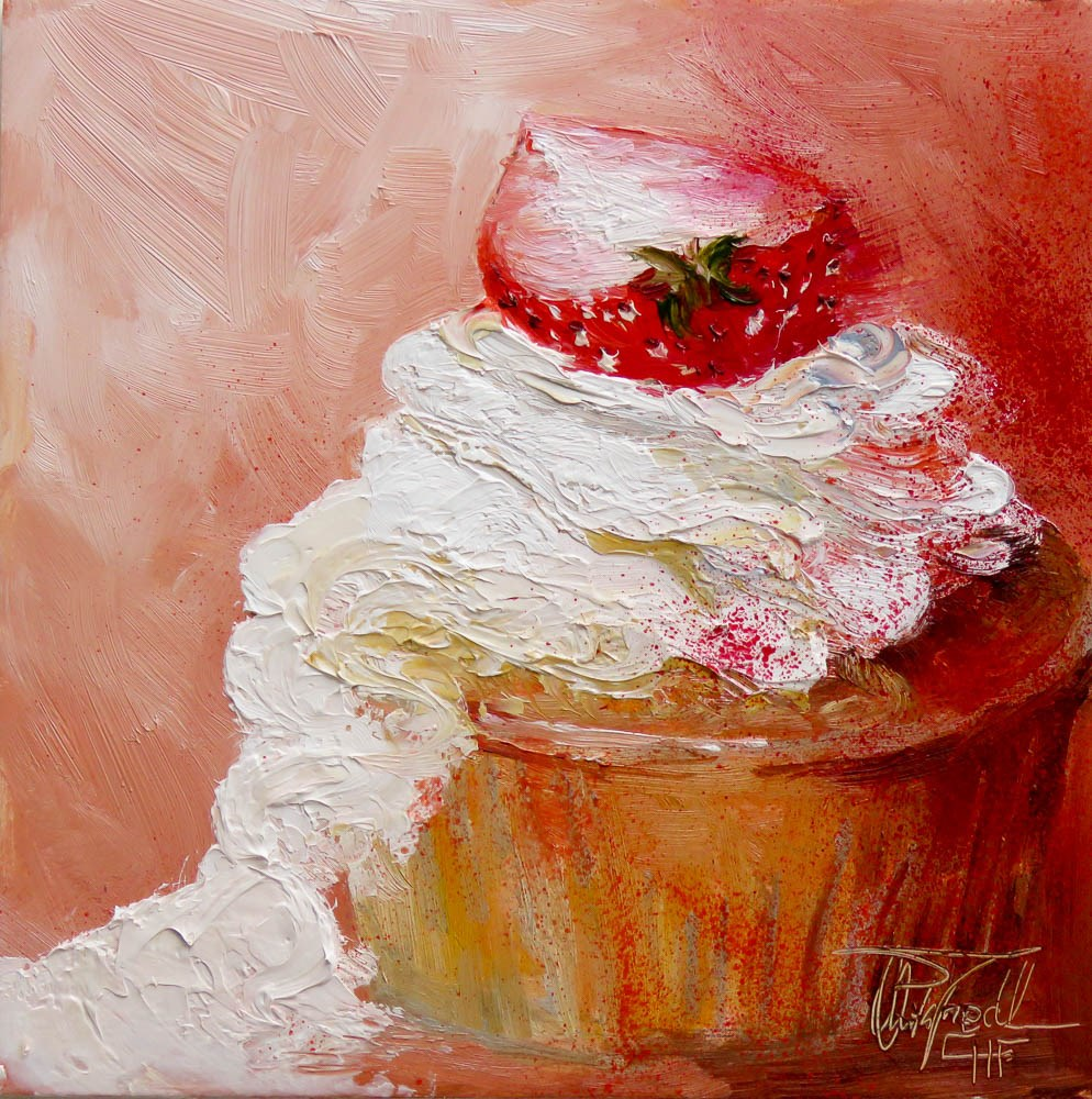 """""""Whipped cream with side dish"""" original fine art by Christa Friedl"""