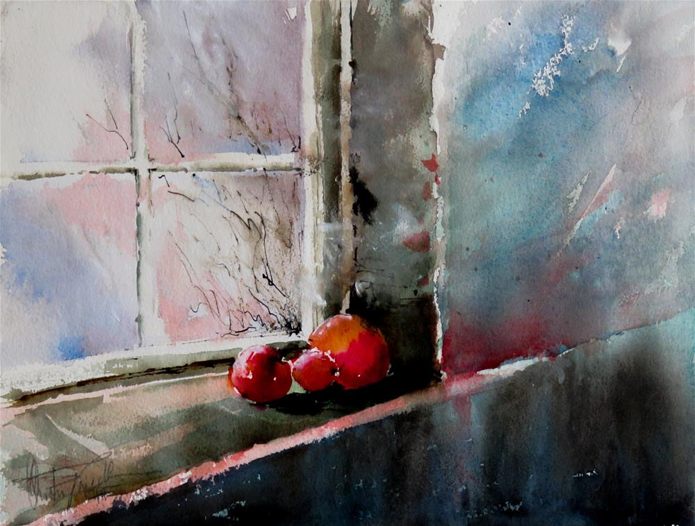 """Three red apples"" original fine art by Christa Friedl"