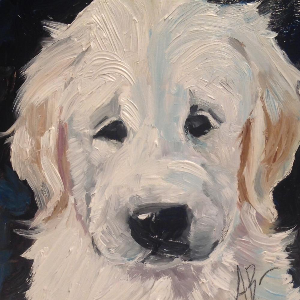 """Golden puppy face"" original fine art by Annette Balesteri"