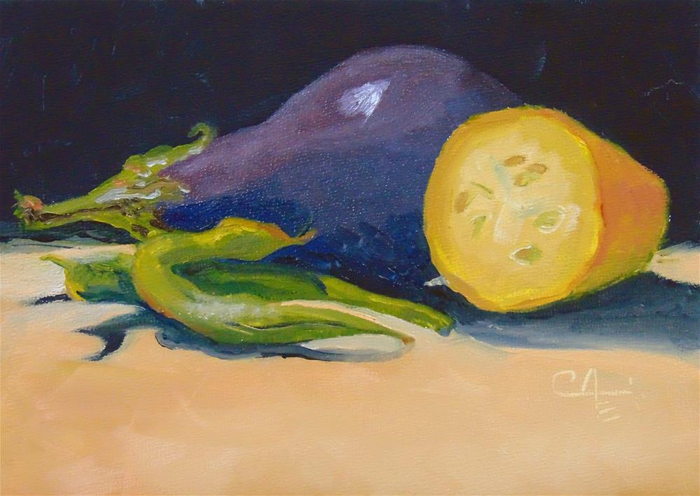 """Yellow Zucchini with Friends"" original fine art by Catherine Kauffman"