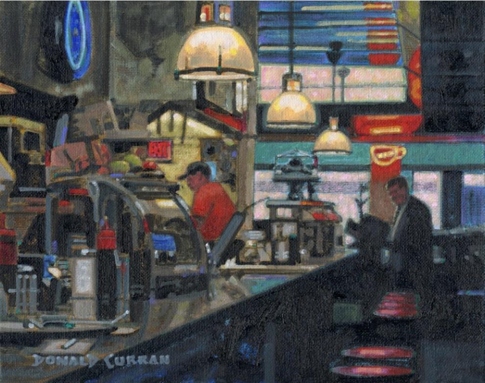 """Neighborhood Diner"" original fine art by Donald Curran"