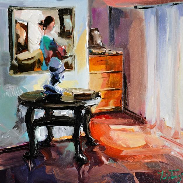 """""""In meinem Atelier"""" original fine art by Jurij Frey"""