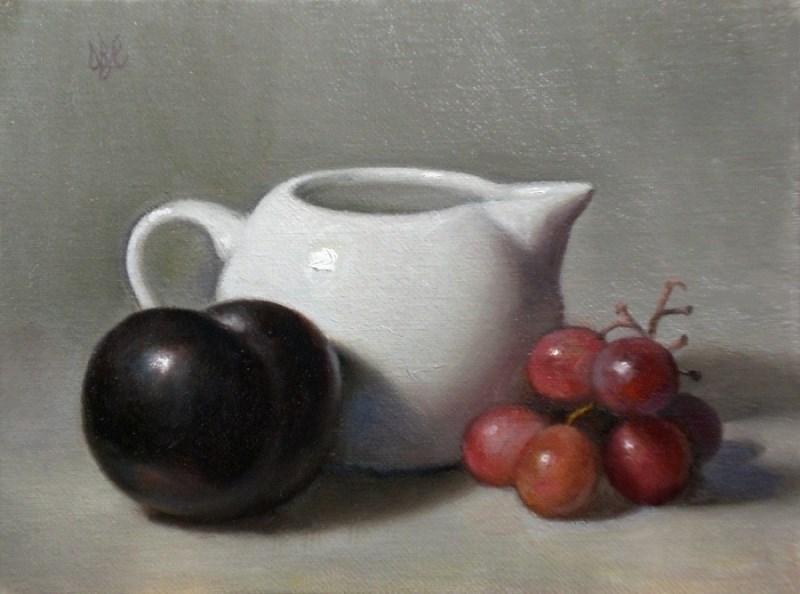 """Black Plum, White Creamer and Grapes on Grey"" original fine art by Debra Becks Cooper"