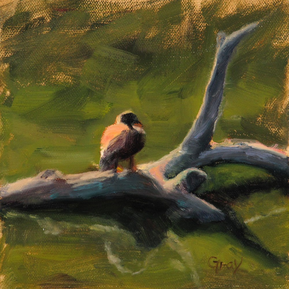 """Duck on the Log"" original fine art by Naomi Gray"
