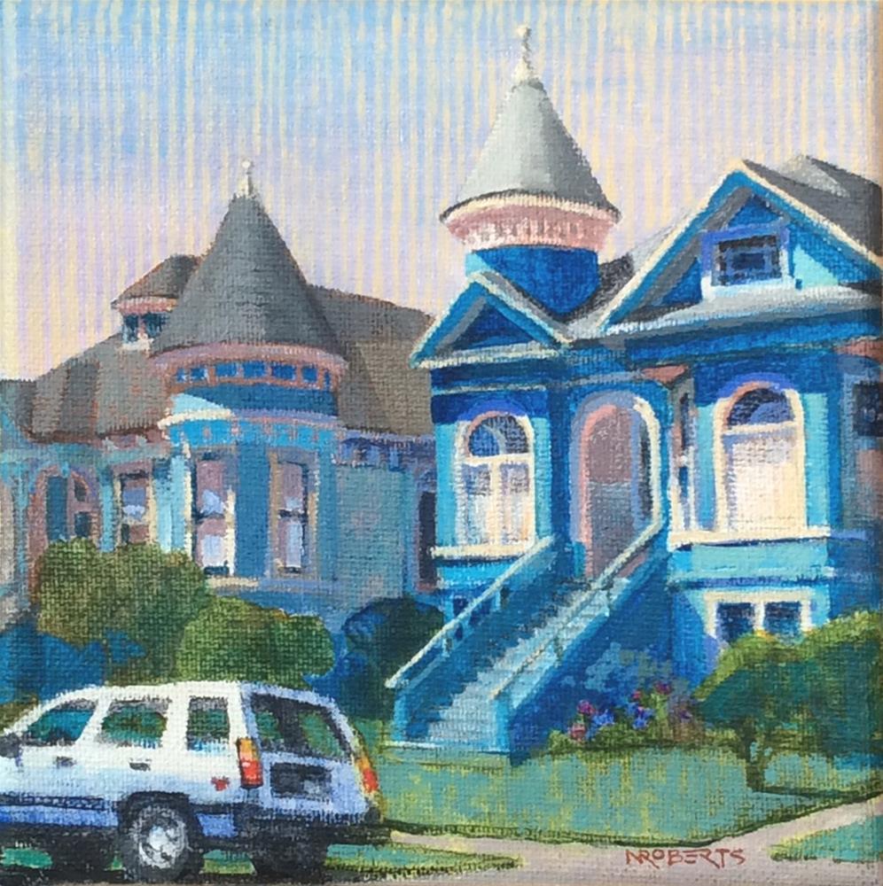 """Blue Victorians, Alameda"" original fine art by Nancy Roberts"