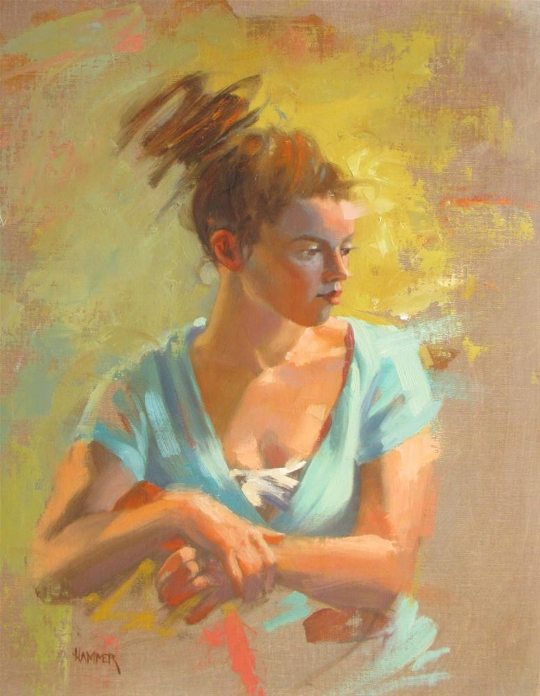 """Swirling Hair  18 x 14  oil"" original fine art by Claudia Hammer"