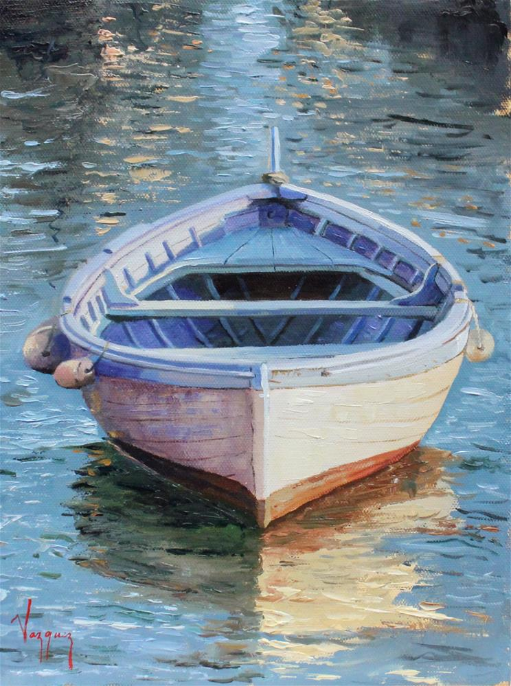 """Boat (red, white, blue)"" original fine art by Marco Vazquez"