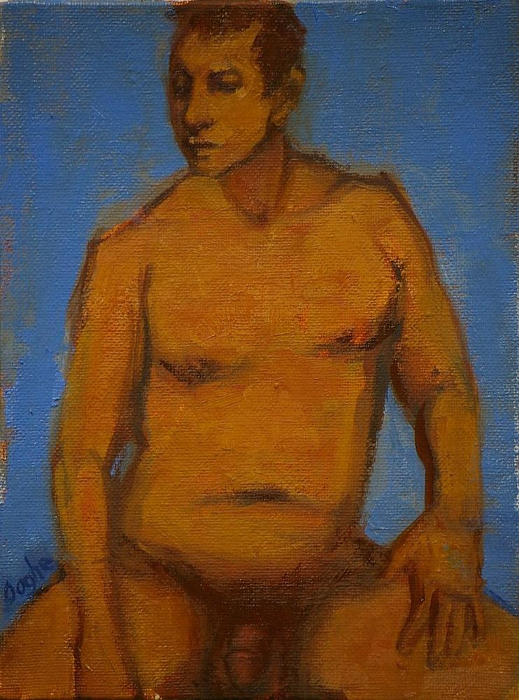 """""""Seated Male Nude"""" original fine art by Angela Ooghe"""