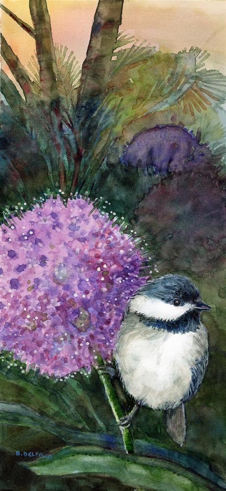 """Watercolor: Chickadee on an Allium (and printmaking with gelatin plates)"" original fine art by Belinda Del Pesco"