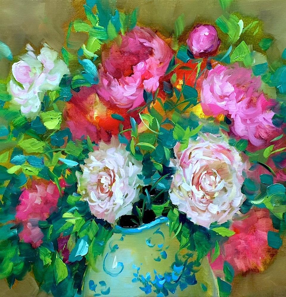"""Lifes a Breeze Peonies"" original fine art by Nancy Medina"