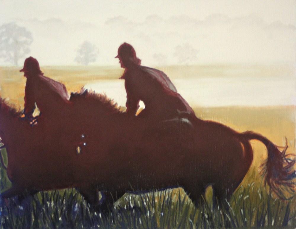 """""""Ride At First Light"""" original fine art by Jill Bates"""